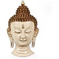 Craftvatika da 30,5cm grande scultura in maschera a forma di testa di Buddha/bianco viso Buddha appeso a parete/muro/parete, regali Art