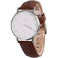 Aurora Women's Metal Retro Casual Round Dial Quartz Analogue Wrist Watch with Brown Leather Band-Silver
