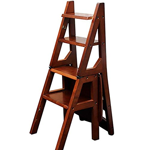 LIXIONG Tabouret D'échelle en Bois Étape Échelle Pliable Chaise Portable 4 Étapes Étagère Ménage tabourets de bibliothèque (Couleur : Light Brown)