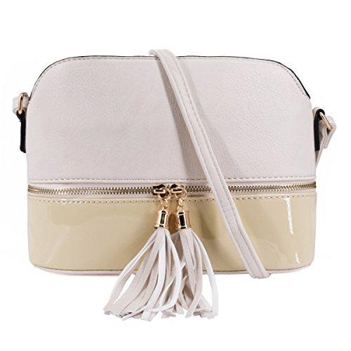 CRAZYCHIC - Damen Mittelgroße Umhängetasche - Schultertasche Mehrfarbig - Multi-Pocket Satteltasche - Messenger Bag Mit Quasten Fransen - Lackleder Tasche - Crossbody - Mode Casual Frau - Beige