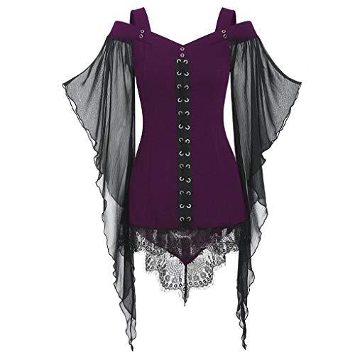 Dorical Halloween T-Shirt Oberteil für Damen/Frauen Schwarz Halloween Hexe Kostüm Gothic Criss Cross Sexy Spitzenärmel T-Shirt Tunika Loose Fit Gr S-XXL(Lila,Medium)