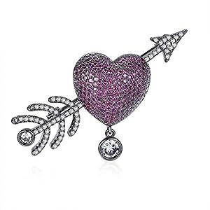 Beydodo Brosche Anstecknadeln Damen Herz und Cupid-Pfeil mit Kristall Schwarz Brosche Weihnachten