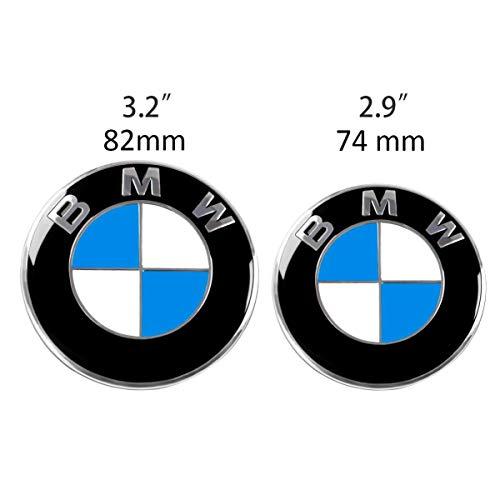 Für BMW Emblem Set Motorhaube und Kofferraum Ersatz für Vorne 82mm und 74mm Hinten Fahrzeugausstattung Badge Plakette E46 E90 E90 LCI