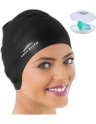 Bain Elite Bonnet de bain en silicone pour cheveux longs Plus Nez Clip–de mieux qu'un bonnet de natation en latex