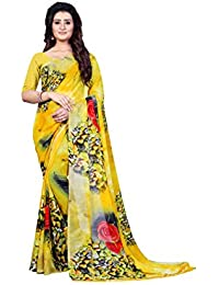 Anand Sarees Women's Faux Georgette Printed Yellow Color With Blouse Piece ( 1339 )