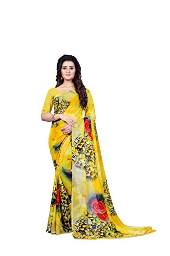 Anand Sarees Women's Faux Georgette Printed Yellow Color With Blouse Piece (...
