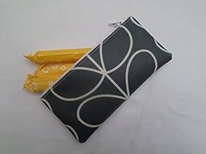 Handmade Oilcloth Tampon Case Holder - Orla Kiely Cool Grey Linear Stem Fabric