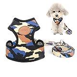 Zunea Hundegeschirr für kleine Hunde, Tarnmuster, verstellbar, kein Ziehen, weiches Netzgewebe, gepolstert, für Chihuahua-Spaziergänge