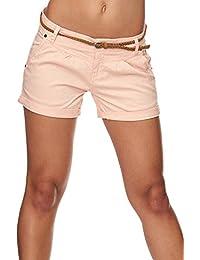 Sublevel Damen D6055Z60917EK-BS Chino-Shorts inkl. Gürtel Kurze Hose aus  Baumwolle 38faaa1020