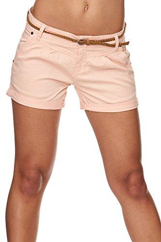 SUBLEVEL Damen Cuba Chino Shorts Bermuda kurze Hose inkl. Gürtel Pastel Orange XS