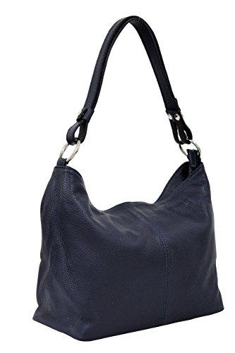 AMBRA Moda Damen Leder Handtasche Schultertasche Umhängetasche Hobo bag GL005 (Dunkelblau) -