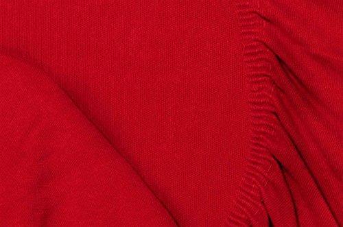 Double Jersey - Spannbettlaken 100% Baumwolle Jersey-Stretch bettlaken, Ultra Weich und Bügelfrei mit bis zu 30cm Stehghöhe, 160x200x30 Rot - 7