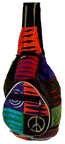 Guru-Shop Mochila Hippie, Patchwork Mochila Nepal, Unisex - Adultos, Multicolor, Algodón, Tamaño:One Size, 35x23x23 cm, Mochilas y Bolsa de Deporte