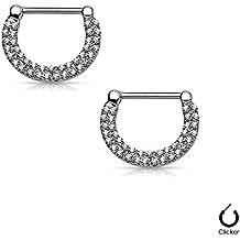 BodyJewelryonline Adultos pezón anillos Clickers 14ga acero quirúrgico con cristales claros pavimentada doble 1Pair