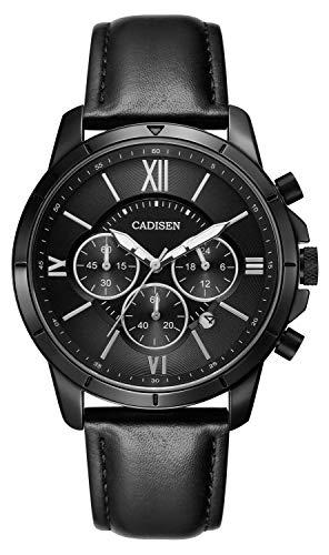 CADISEN Armbanduhr Männer Chronographen Wasserdicht Quarz mit Lederarmband Schwarz C9060mnbb