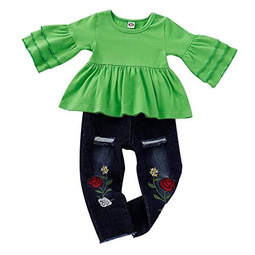 Lookhy Kinder-Kit, Kinder Kurzarm einfarbige Lotus-Blatt Ärmel Top mit Blume Bestickt Jeans Set Kleinkind Babykleidung Set Kurzarmshirts + Strap Rock oder kurzes Baumwolloutfit Set 2 Stück -