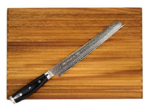 Damastmesser-SET Yaxell GOU 101 -Brotmesser - Schnittkern aus Pulverstahl 63HRC + Brotschneidbrett