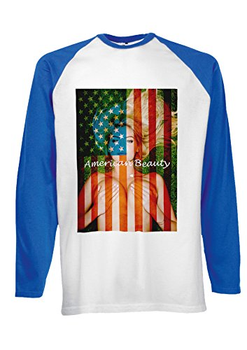 Sexy Girl American Flag Beauty Novelty Black/White Men Women Damen Herren Langarm Unisex Baseball T Shirt Verschiedene Farben Blau