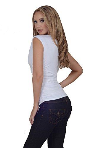 Top pour femmes col bénitier volants de tissu extensibles sans manches Blanc