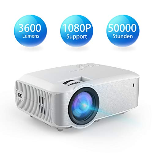 Video Beamer, TOPVISION 1080P Supported 4200 Lumen 200\'\' Voll HD LED Beamer, 50.000 Stunden Heimkino Projektor für Indoor/Outdoor, kompatibel mit Fire TV Stick, PS4, HDMI, VGA,AV und USB