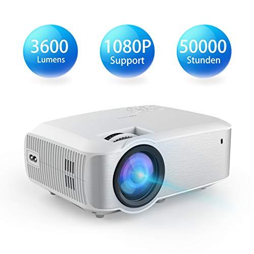 Video Beamer, TOPVISION 1080P 3600 Lumen 200'' Voll HD LED Beamer 2019 Aktualisiert, 50.000 Stunden Heimkino Projektor für Indoor/Outdoor, kompatibel mit Fire TV Stick, PS4, HDMI, VGA, AV und USB Garantie Video