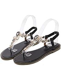 Sandali con decorazione gioiello femminile Scarpe basse Scarpe estive  casuali Peep Toe con tallone Sandali elastici 719d431ac4e