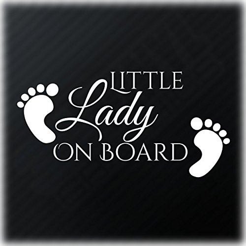 Little Lady On Board Baby Feet Aufkleber Fun Child Safety Sign Auto Decal Autoaufkleber