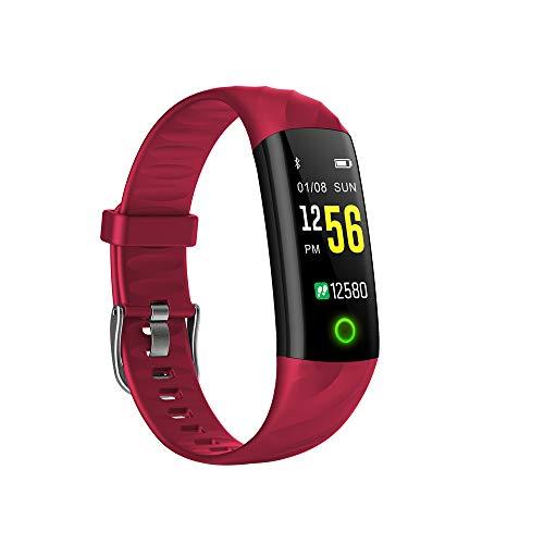 HTTXSBL Fitness Tracker mit Pulsmesser Schrittzähler Vibrationsalarm wasserdichte IP67 Damen Herren Rouge