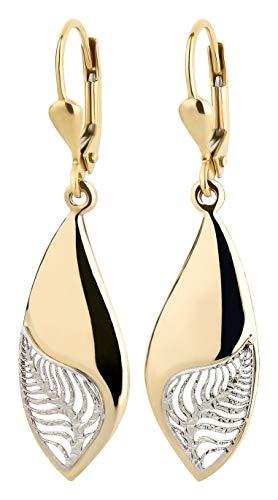 Ardeo Aurum Damen Hänge-Ohrringe aus 333 Gold bicolor Gelbgold Weißgold Brisuren Hänger ohne Stein hochglanz-poliert oval Blatt Laub Zweig