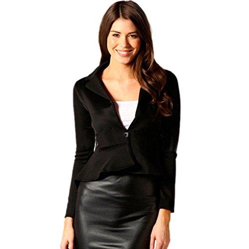 ZKOO Donne Slim Elegante Giacca Irregolare Maniche Lunghe Outwear Maglietta Nero