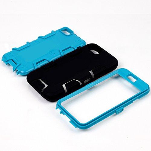 iPhone 6 / 6s Hülle, FindaGift 3 in 1 Hybride Handycover Hartschale Cover Roboter Guard Schutzhülle Innere PC Case Weich Silikon Back Rüstung Ganzkörper-Schutz [Bruchsicher] [Anti-Rutsch] Handytasche  Schwarz + blau