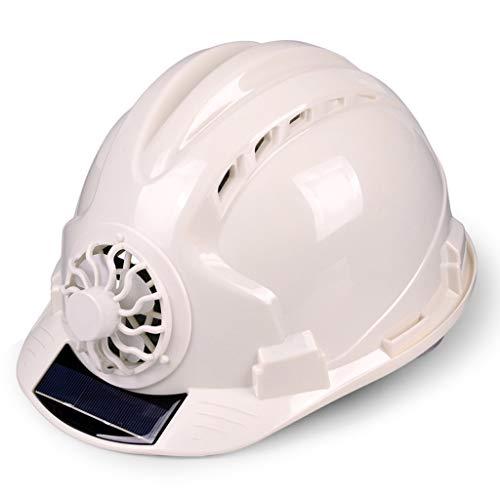 Schutzhelm mit Ventilator Belüftete Baustelle Sonnenschutz Schutzhelm Atmungsaktiver Schutzhelm, Multi-Color-Auswahl Hardhats (Farbe : Weiß)
