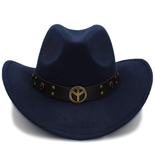 Wild Kostüm Mann Europäische - GZ Mode Winter Cowboy Wildleder Look Wild West Kostüm Damen Cowgirl Hut Roll-Up Hut Für Frauen Männer,Dunkelblau,56-58 cm