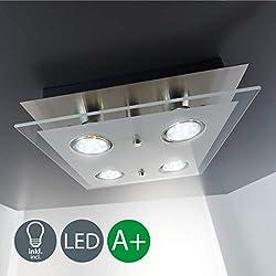 B.K. Licht plafonnier LED moderne, verre satiné, 4x3W, GU10, lampe bureau salon chambre cuisine couloir, éclairage intérieur, plafonnier bureau, 230V, IP20