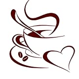 Grandora Wandtattoo Kaffetasse Herz I dunkelrot 52 x 58 cm I Kaffee Tasse Bohnen selbstklebend Küche Aufkleber Wandaufkleber Wandsticker W3040