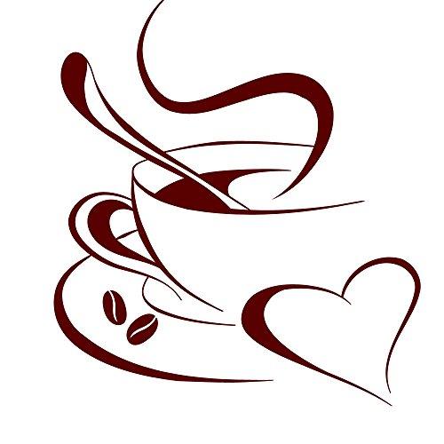 Grandora Wandtattoo Kaffetasse Herz I dunkelrot 10 x 12 cm I Kaffee Tasse Bohnen selbstklebend Küche Aufkleber Wandaufkleber Wandsticker W3040