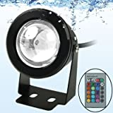 10 W RGB fareto LED sumergible con mando a distancia (DC 12 V, Flujo Luminoso Color 800 – 900LM (Black)