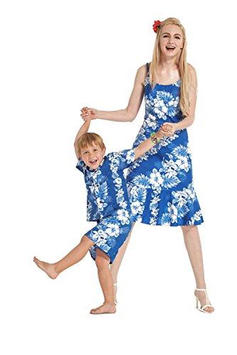 Hecho-en-Hawaii-Camisa-de-vestir-de-hijo-de-madre-a-juego-en-Blanco-Lnea-Floral-in-Azul-L-8