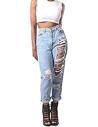 Geurzc Jeans Damen Boyfriend High Waist Löchern Destroyed Look Zerrissen  Denim Straight Stretch Hose Röhrenjeans… cfc6859b8d