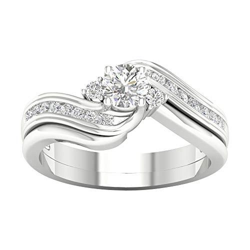 14k oro massiccio 1/2 cttw real diamond anniversary anello di fidanzamento (i2-clarity-h-i-color) e oro bianco, 18,5, cod. hr-rb5727-8.5-w