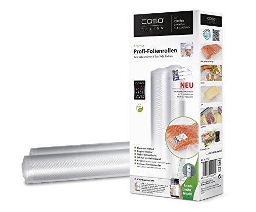 CASO Profi- Folienrollen 30x600 cm (1222) / 2 Rollen mit Etiketten für alle Balken Vakuumierer geeignet / Kochfest - Mikrowellen geeignet - Sous Vide geeignet / stabile Schweißnaht / Materialstärke ca. 160 µm / kostenlose Food-Manager App (Zubehör Vakuumierer)