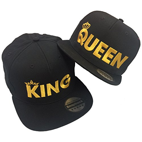 #King Queen Pair Embroidered Rapper Cap Set Black#