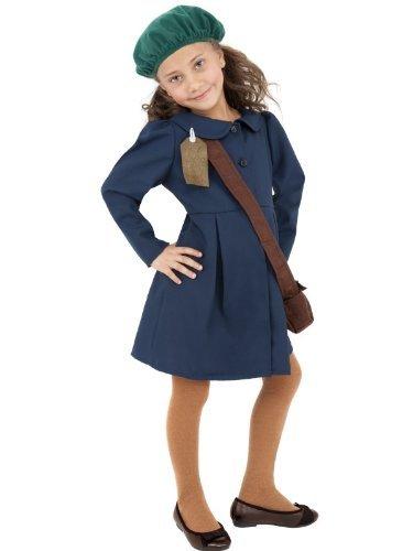 World War II Evakuierter Girl: Kostüm mit Kleid, Hut und Taschen