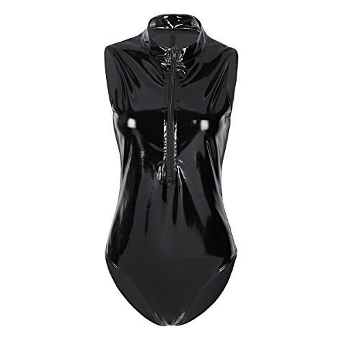 iEFiEL Metallic Damen Frauen Body Bodies Ärmellos Rundhals Jumpsuit Overall GoGo Dessous Wet-look Schwarz X-Large