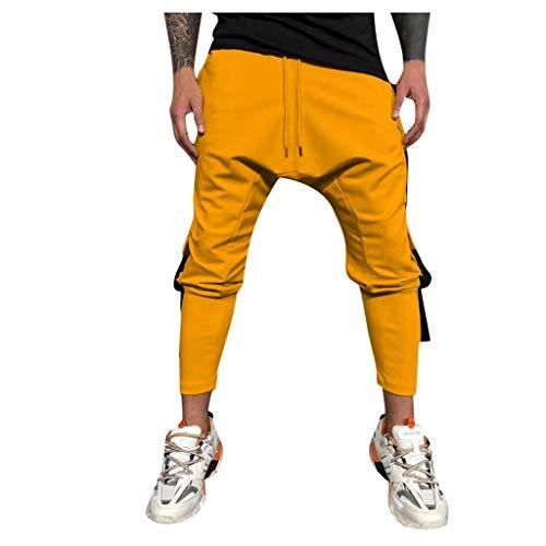 GreatestPAK Pants Eng anliegende einfarbige Jogginghose für Herren lässig im Freien mit Mehreren Taschen Arbeitshose Lange - Fußball Kostüm Mit Pads