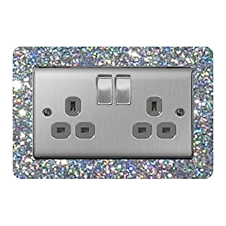 the sticker studio ltd Double Light Switch/Socket Surround Acrylic Finger Plate Silver Sequin