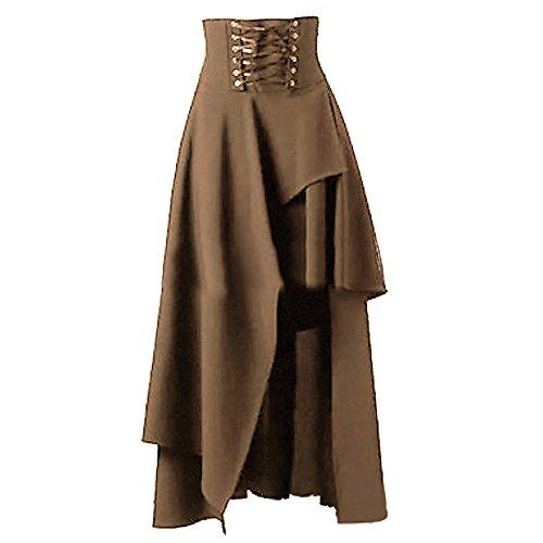 Bonboho Femme Robe Jupe Longue Volants Gothique Lacets avec Ourlet Asymétrique Rétro S-XXL Khaki M Bonboho