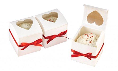 10 scatoline per mini cupcake singolo, o bomboniere, con finestra a cuore, 6x6x6 cm