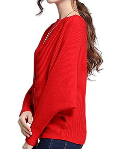 SHUNLIU Women's Elegant Stylish Pullover Solid Color Batwing Sleeve Sweater Knitted Jumper Tops tops Knitwear One Size Rot