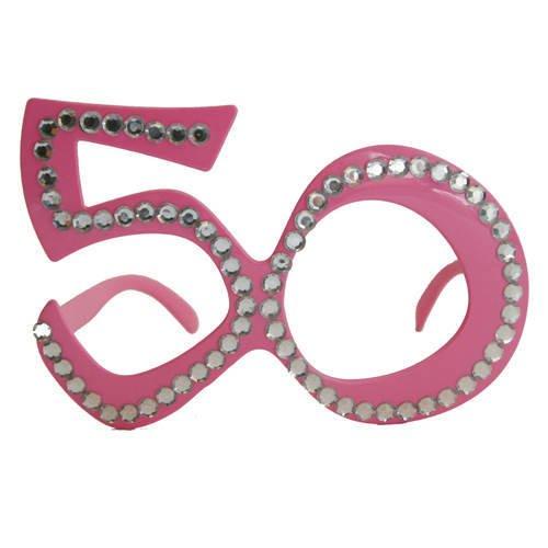 Folat Creative Party-Brille, 50. Geburtstag–Rosa